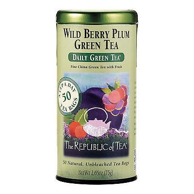 The Republic Of Tea Wild Berry Plum Green Tea, 50 Tea Bags, Refreshingly Balance