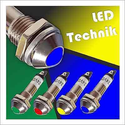 5 STÜCK LED Kontrollleuchte Meldeleuchte Kontrollampe Signal 24V (8,2 mm) (022) Gelbe Led-kontrollleuchte