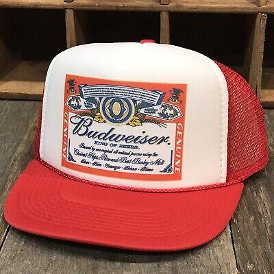 Budweiser Beer Vintage 80's Promo Trucker Hat Bud Light Mesh Snapback Cap Red ()