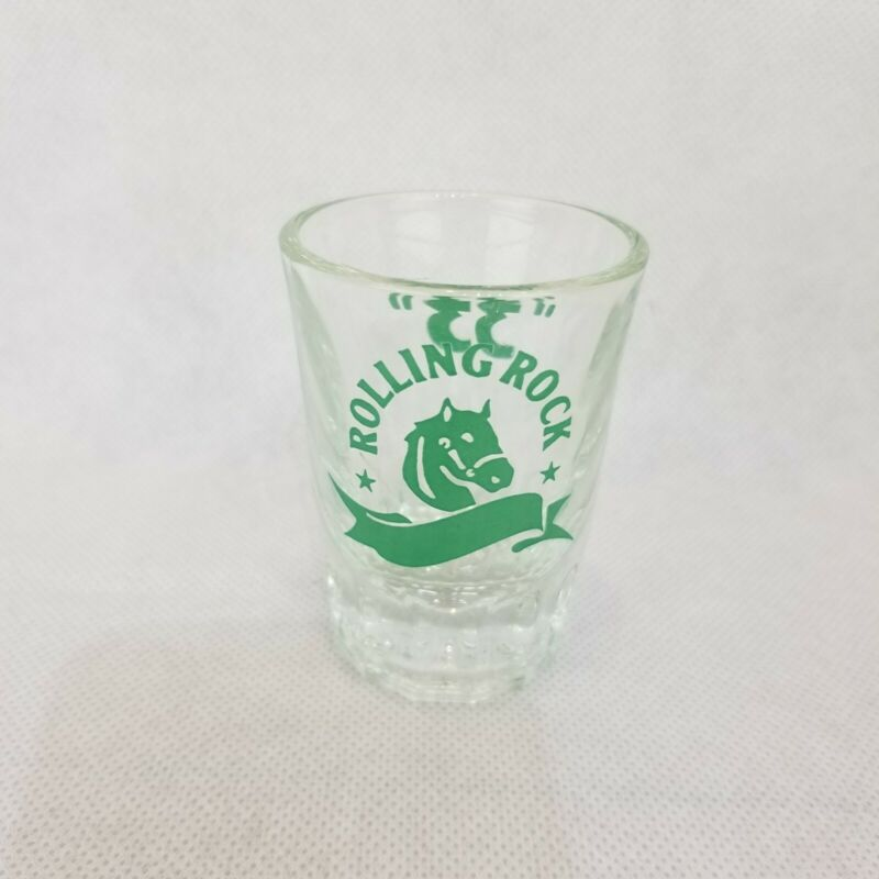 Rolling Rock Latrobe Brewing Co Shot Glass 33 Heavy Horse Head