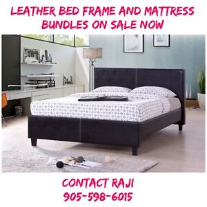 LEATHER BED FRAME AND MATTRESS BUNDLE ON SALE