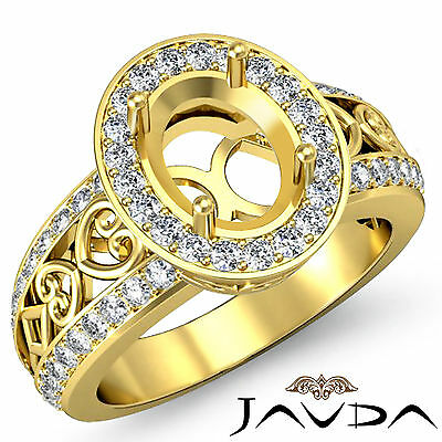 Diamond Engagement Pave Set Filigree Ring 14k Yellow Gold Oval Semi Mount - Semi Mounted Set Ring