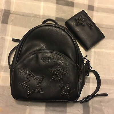 ae8343430e Black Stars Guess Backpack With Matching Wallet NWOT