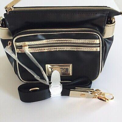 "New VERSACE Parfums Women's Bag Crossbody Purse Black and Gold Size: 11"" x 7"""