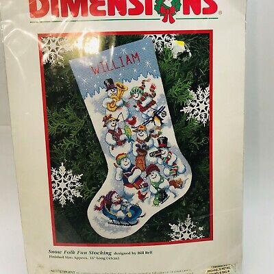 Dimensions Snow Folk Fun Christmas Stocking Needlepoint - Fun Christmas Stockings