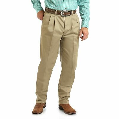 Wrangler Mens Pants Beige Size 46X30 Pleated Front Relaxed Fit Khakis $48 #780 Pleats Relaxed Fit Khakis
