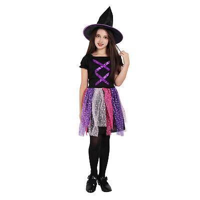 Witch Costume Girls Halloween Black and Purple Kids Fancy Dress