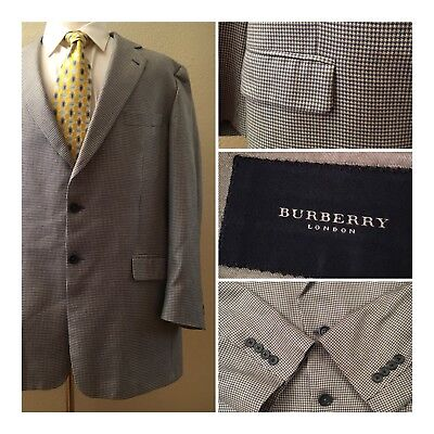 BURBERRY LONDON 46 L Cashmere Silk Houndstooth 2-Button Sport Coat Jacket Gray