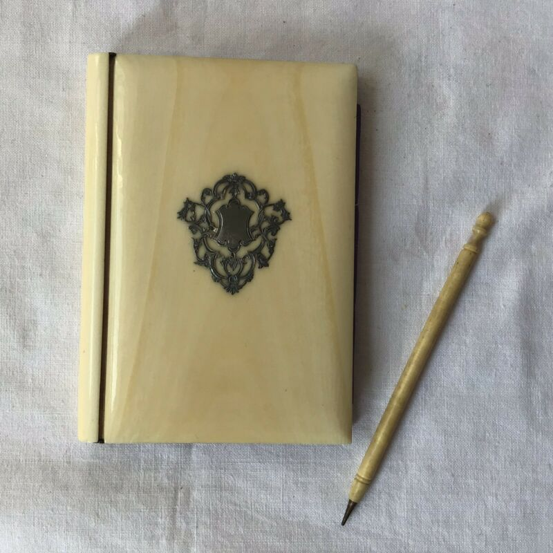 Antique Tagua Nut & Silver Cartouche Calling Card Case Original Satin Interior