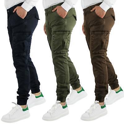 Pantaloni Uomo Cargo Invernali Pantalone Tasche Laterali SlimFit Verde Blu Fango