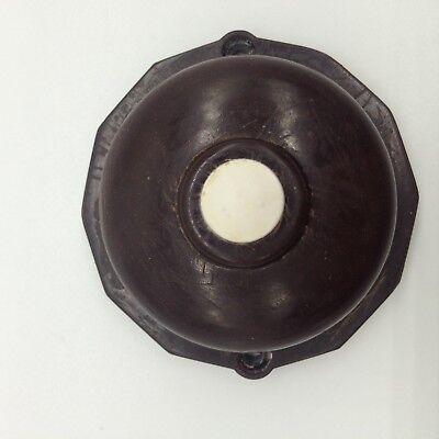 art deco door bell press push switch buzzer 12 side bakelite brown white 1920's