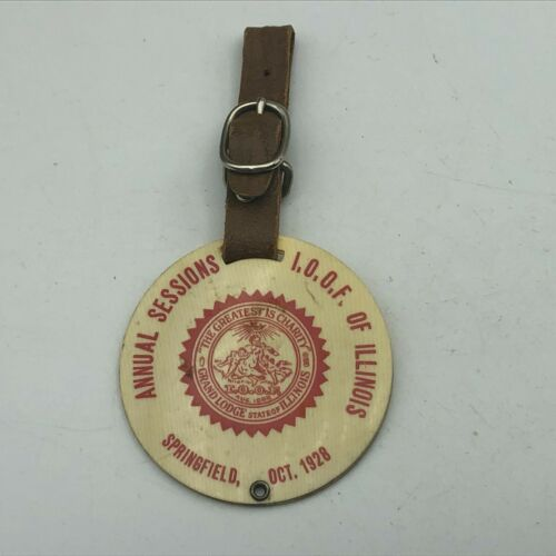 1928 Odd Fellows Springfield IL Leather Strap Whitehead Hoag Vintage //