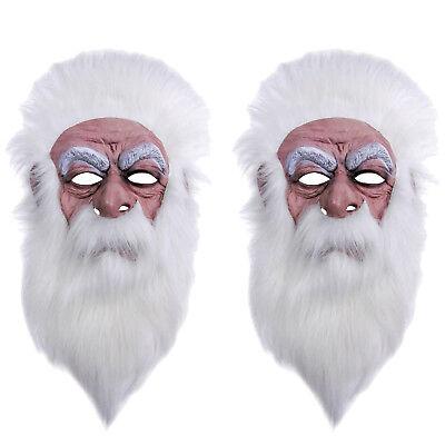 2 x Maske Zauberer Magier alter Mann Gnom weiß Zubehör Zaubererkostüm Fasching