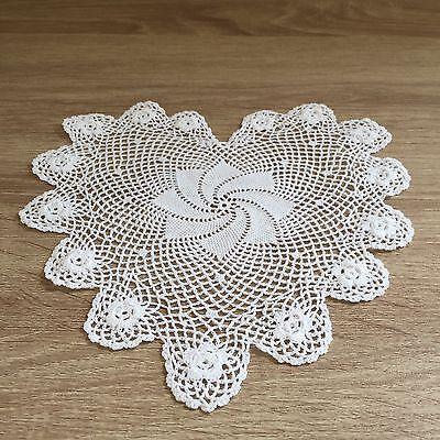 "6"" Inch Heart Shaped Cotton Crochet Lace Doily Handmade White 12 PCS Doilies"