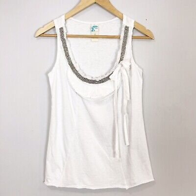 Anthropologie C.KEER Women's SMALL White Beaded Embellished TANK TOP Shirt