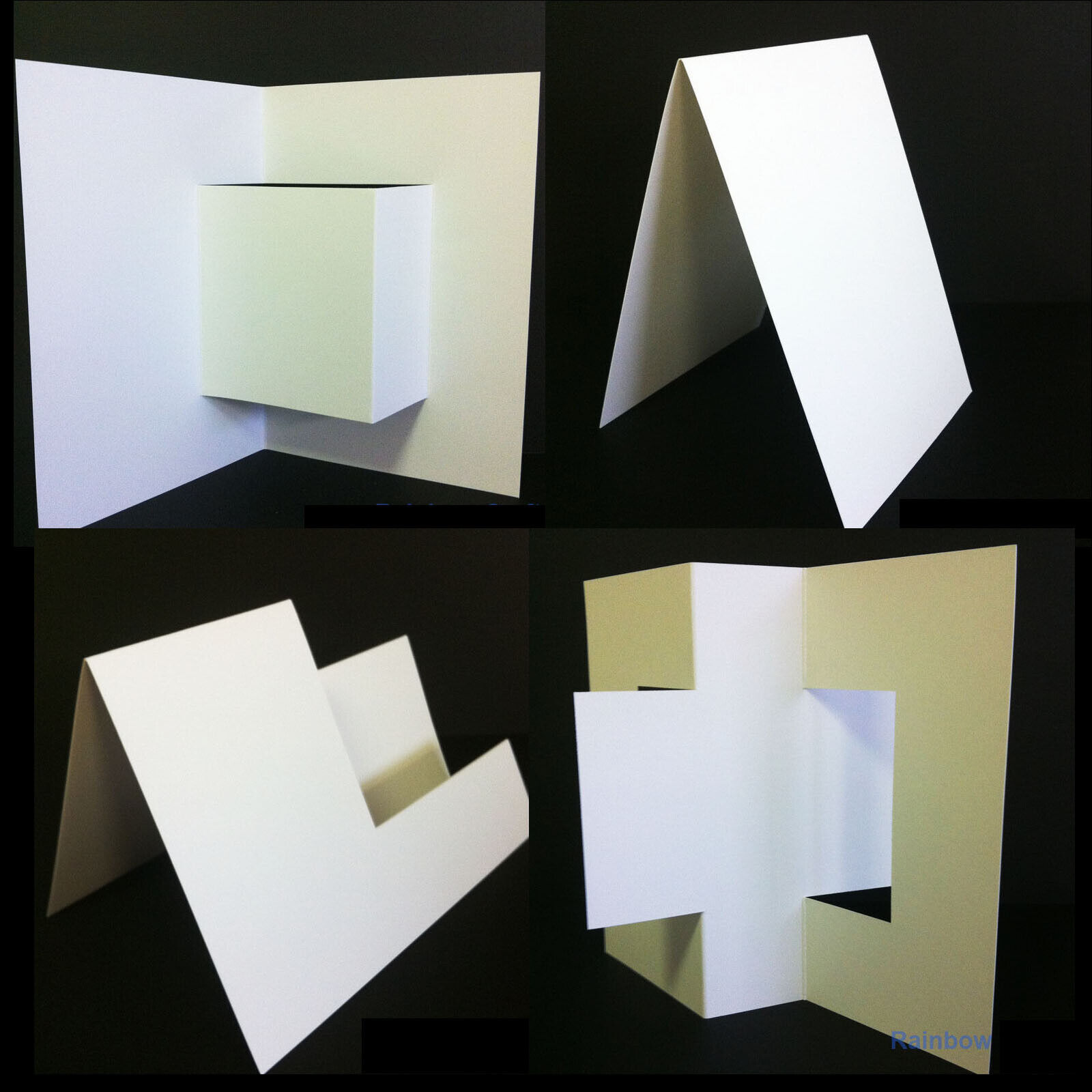 10 Blank Cards & Envelopes / Scallop Edge / step card / DL / Horizontal / Swing