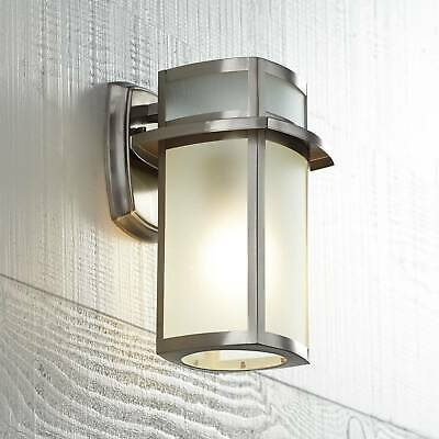 Modern Outdoor Wall Light Fixture Nickel 11 1/4