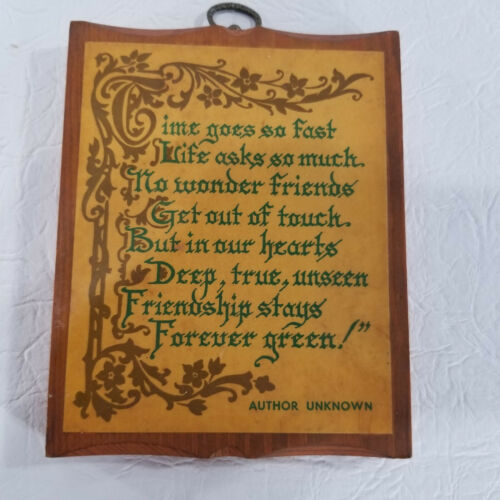 Vintage Wood Wall Hanging Plaque Poem Author Unknown Time Goes So Fast