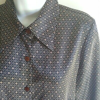 Zara Women's Large Blouse Long Sleeve Button Up Shirt Brown Black Circles