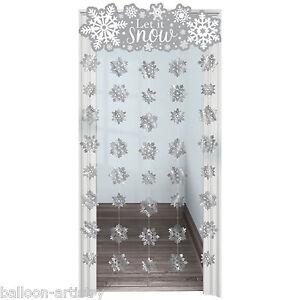 1.9m Christmas Frozen Snowflake Let It Snow Door Doorway Curtain Decoration