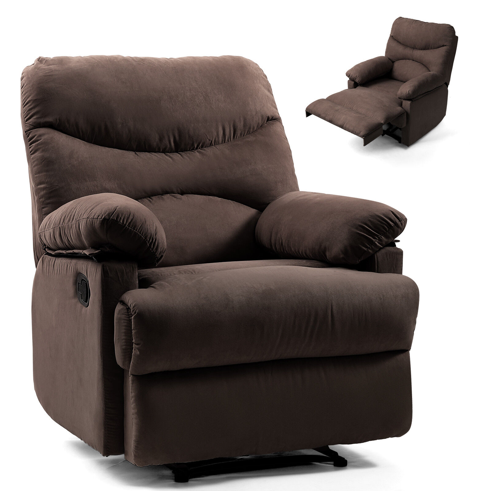 Chocolate Lazy Man Massage Recliner Chair Zero Gravity Full