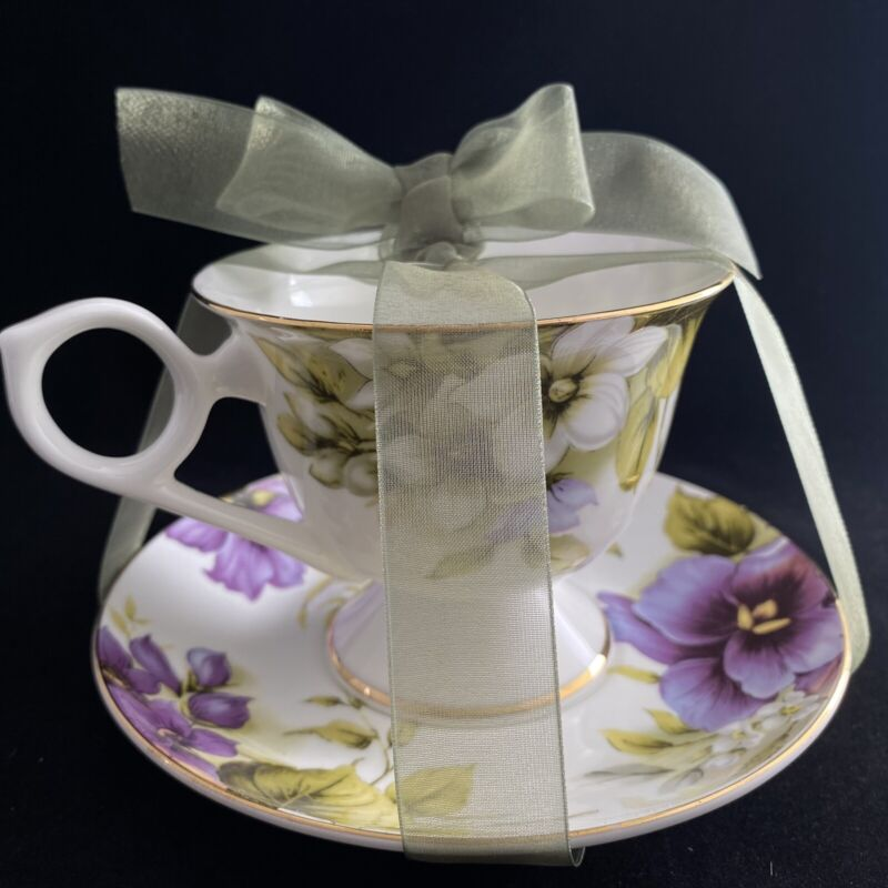 Grace's Bone China Footed Tea Cup & Saucer set White with Purple & White Flower