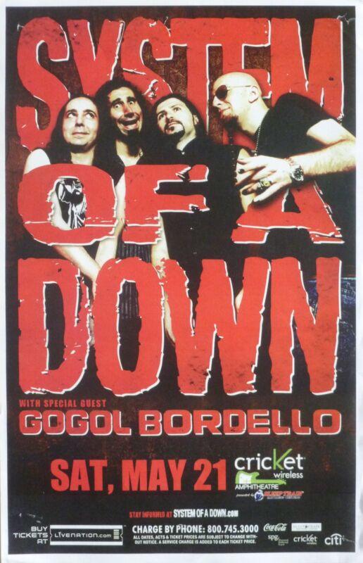 SYSTEM OF A DOWN / GOGOL BORDELLO 2011 SAN DIEGO CONCERT TOUR POSTER-Metal Music