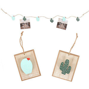 Boho Cactus Picture String Garland & Two Boho Cactus Peg Boards