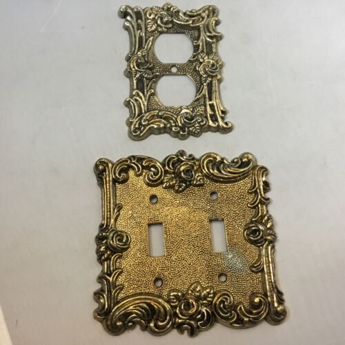 Vintage gold ormolu light switch cover and outlet cover ornate floral