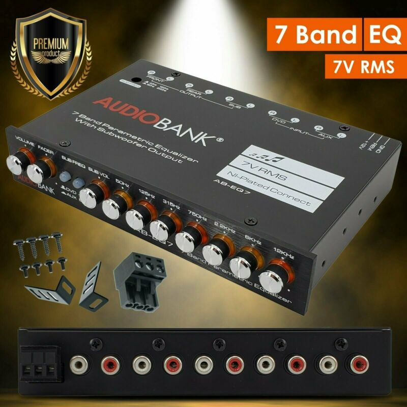 Audiobank EQ7 1/2 Din 7 Band Car Audio Equalizer EQ w/ Front, Rear + Sub Output