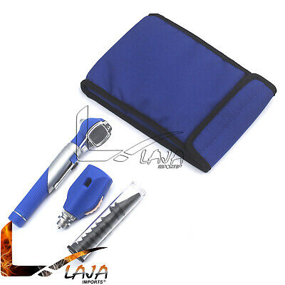 Fiber Optic Otoscope Opthalmoscope Blue Color Medical Diagnostic Pocket Size Set