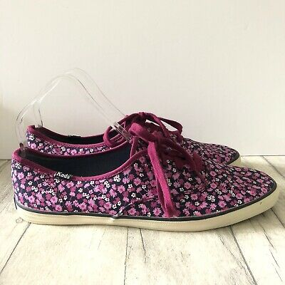 Keds Trainers UK 7 Purple Floral Flowers Flat Shock Proof Arch Cushion Lace Ups