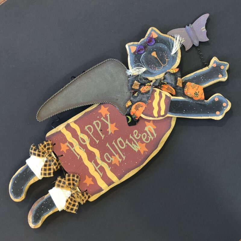 """Wood Flying Black Cat HAPPY HALLOWEEN Sign Plaque Hanging Wall 15"""" Folk Style"""