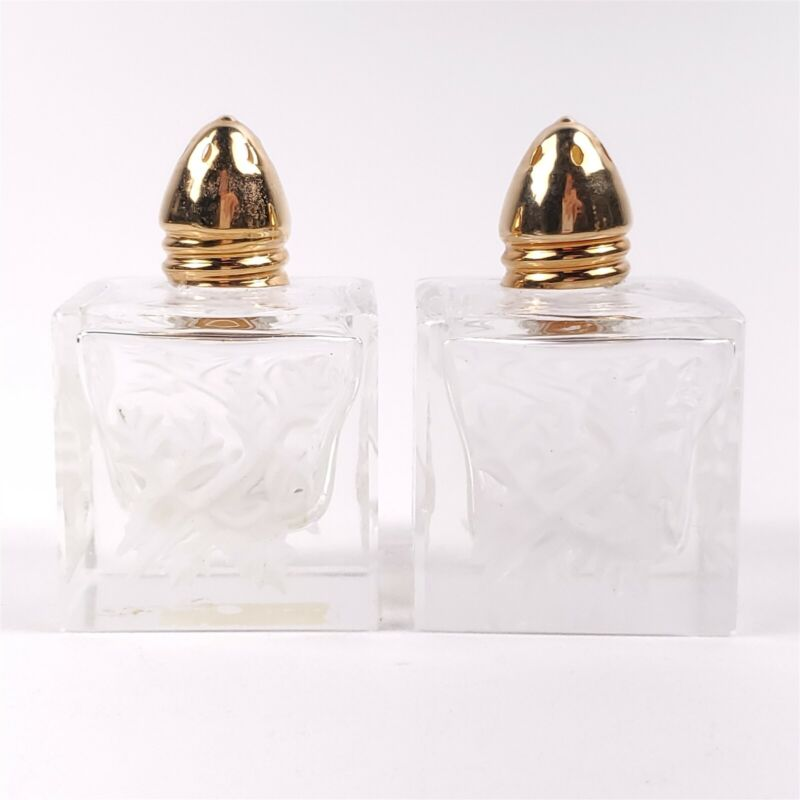 """Glass Cube Floral Leaves Design Gold Top Salt & Pepper Shakers 2 3/4"""" Tall"""