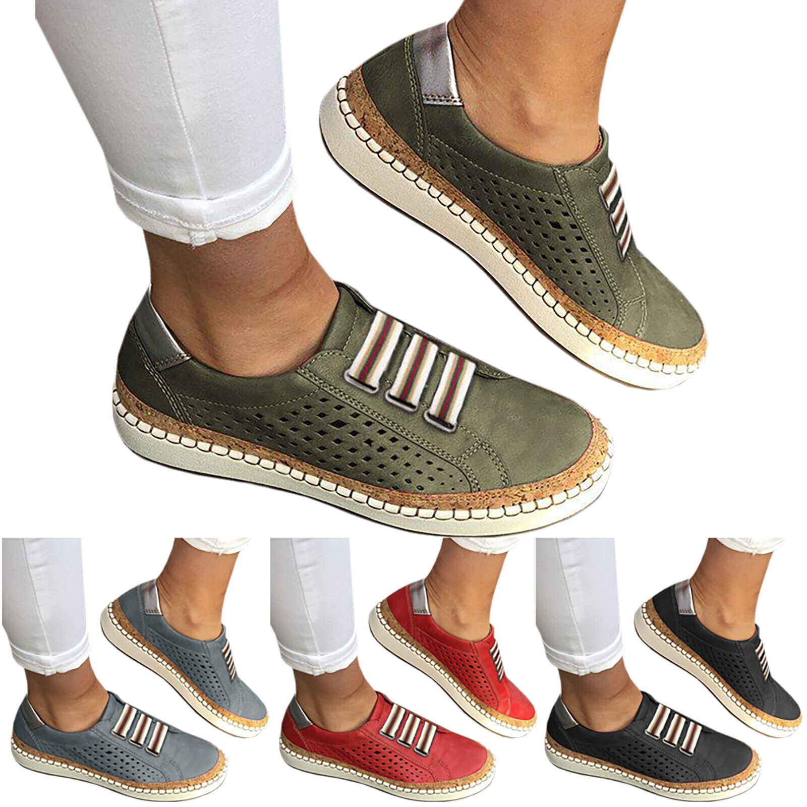 Women Slide Hollow-Out Flats Round Toe Leisure Breathable Casual Sneakers Shoes