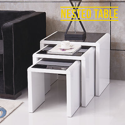 Modern Design High Gloss Nest of 3 Coffee Table White + Black Tempered Glass Top