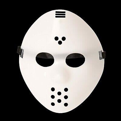 Erwachsene Einfach Weiß Jason Voorhees Style Hacker Horror Hockey Gesichtsmasken ()