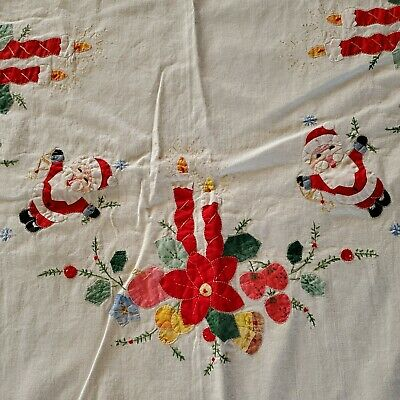 "Vintage White Linen Embroidered Appliqued Santa Christmas Table Cloth 100"" × 62"""