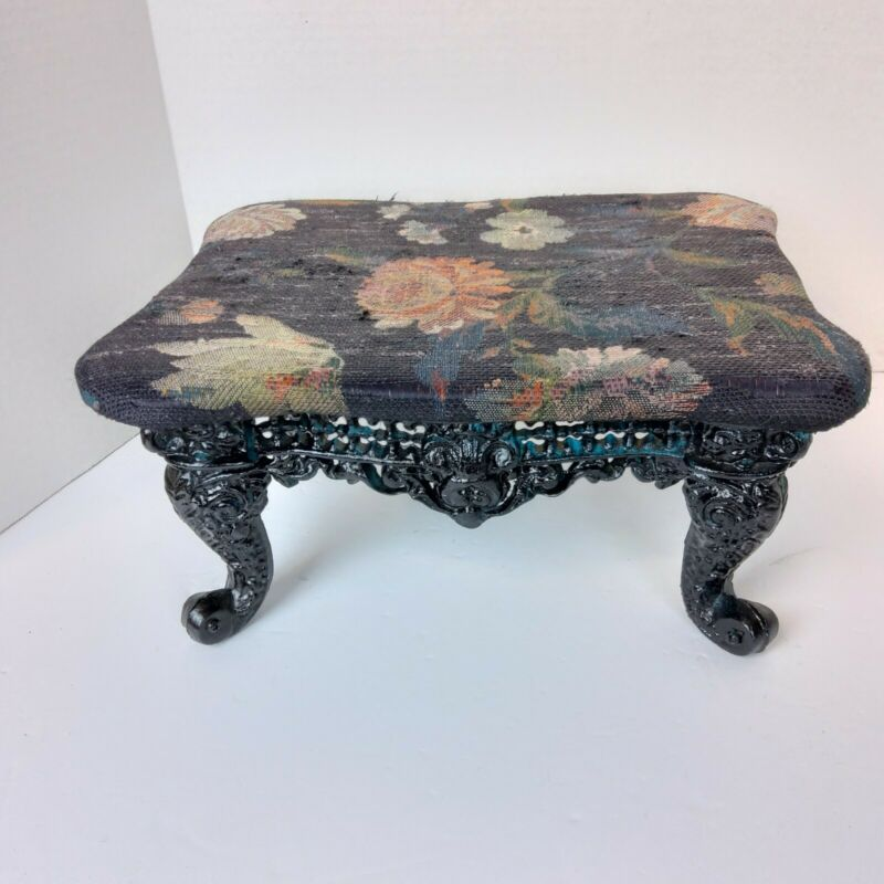 Antique? Foot Stool Cast Iron Base tapestry top floral flowers black legs heavy