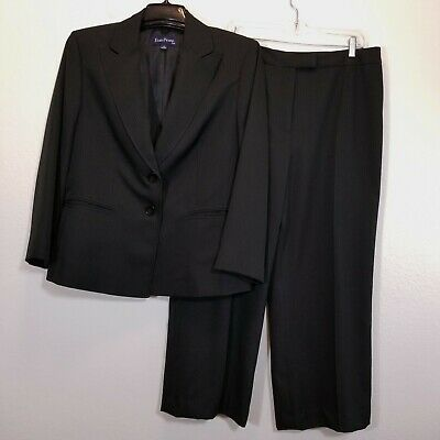EVAN PICONE Womens Career Lined Pant Suit Size 16 (26 Inseam) Black Pinstripe