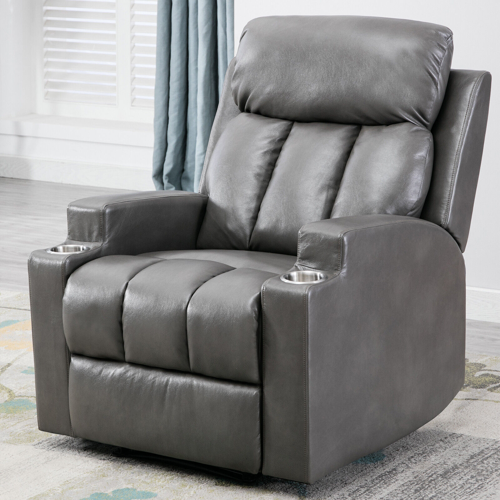 Manual Recliner Chair With 2 Cup Holders Breathable PU Leath
