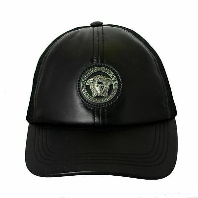 Versace  Men's Leather Black Medusa Logo Baseball Cap Size (Versace Hat For Men)