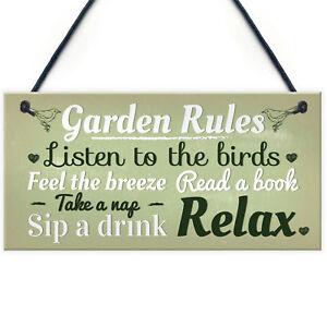 Garden Rules Novelty Hanging Plaque SummerHouse Sign Garden Shed Friendship Gift