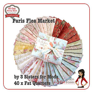 Paris Flea Market Fabrics Moda Fat Quarter 1/4 Bundle Fabric quarters vintage