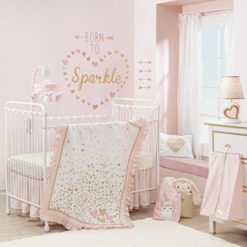 Lambs & Ivy Confetti 4-Piece Crib Bedding Set - Pink, Gold, White, Love, Hearts