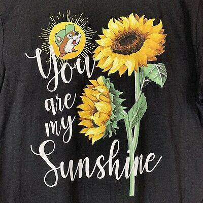 Buc-ee's Women's Fit You Are My Sunshine Sunflower T-shirt Sz Youth L- Black NEW
