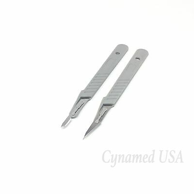 2 Assorted Disposable Sterile Surgical Scalpels 11 15 W Plastic Handle Rct