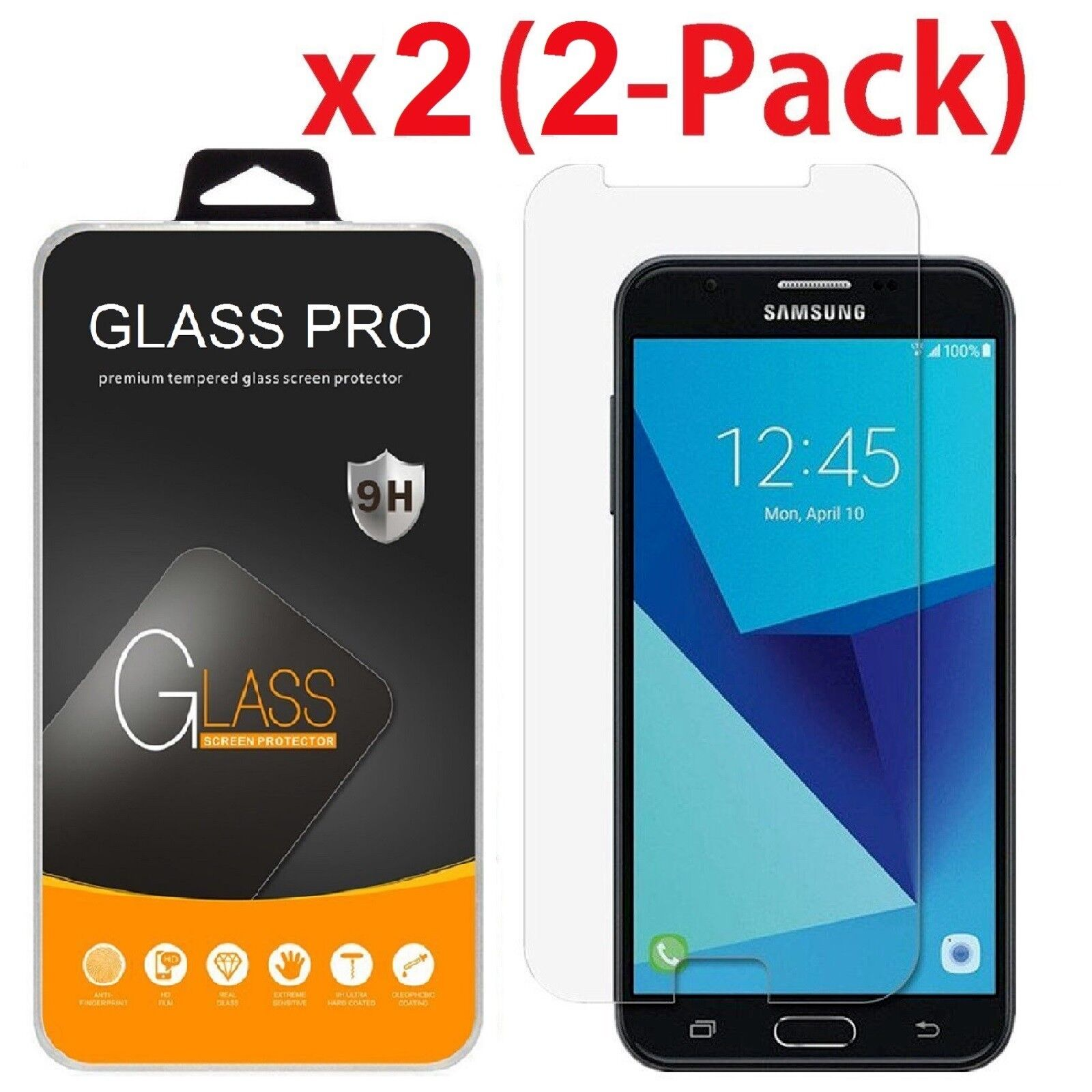 2-Pack Shockproof Tempered Glass Screen Protector for Samsun