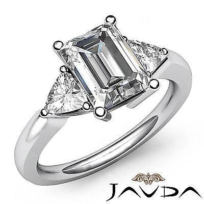 Trillion Cut 3 Stone Emerald Diamond Engagement Prong Set Ring GIA I SI1 1.55Ct