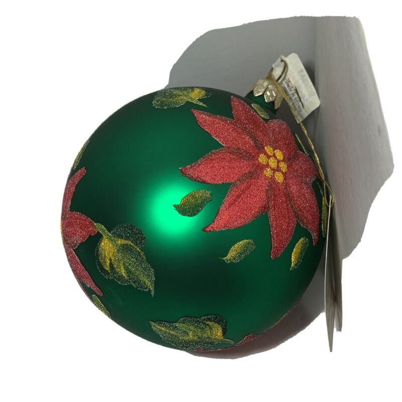 NWT HAND PAINTED Lg Glass CHRISTMAS ORNAMENT Bombay GREEN Red Flock POINSETTIA